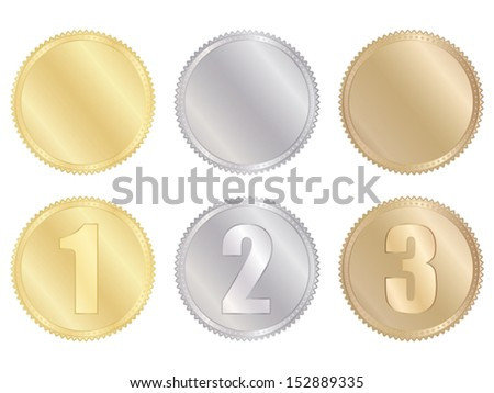 set of golden, silver and bronze medals - stock vector