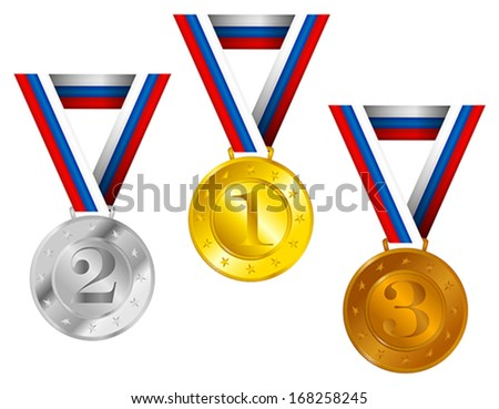 Set of Golden, Silver and Bronze Medals with Ribbons With Russian Flag Tricolor