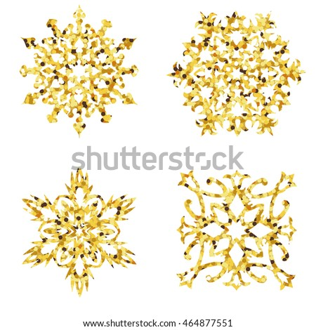 Set of golden snowflakes. Vector illustration.