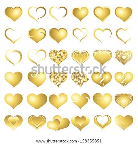 Set of golden symbol heart, vector - stock vector