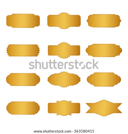 Set of golden vector borders and banners
