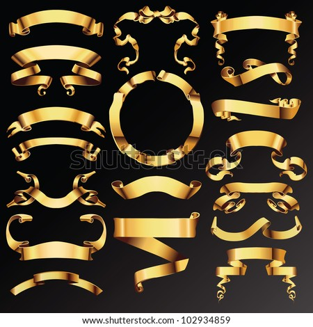Set of golden vector ribbons or banners for your text. - stock vector