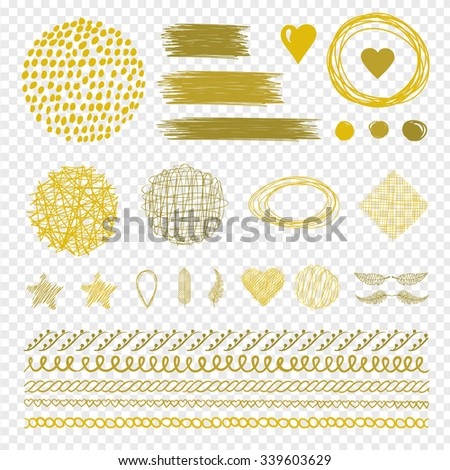 Set of Golden wreath and line. Golden, frame, border and brush stroke. Decorative hand-drawn calligraphic golden element. Design scroll, decorative line, curl.Graphic vintage set. Vector illustration. - stock vector