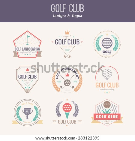 Set of golf club logo templates. Hipster sport labels with sample text. Elegant vintage icons for golf tournaments, organizations and golf clubs. Vector logotype design.   - stock vector
