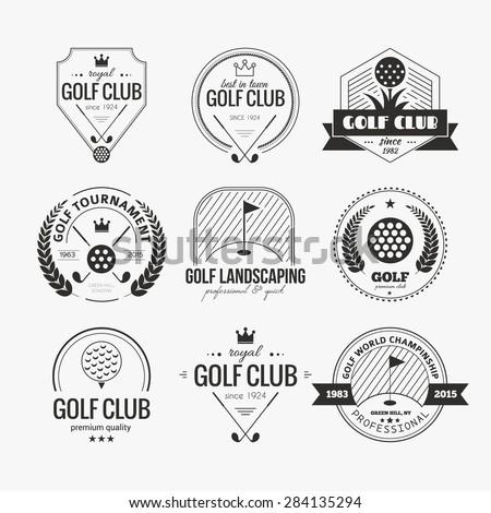 set golf club logo templates hipster stock vector