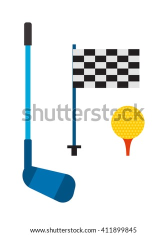 Set of golf club tee and ball sport leisure equipment isolated vector illustration. Golf club game iron equipmentand and outdoors lifestyle golf club. Golf club flag, stick and golf ball. - stock vector