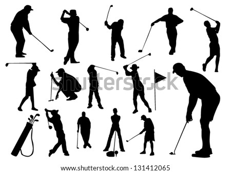 Set of golf players silhouettes - stock vector
