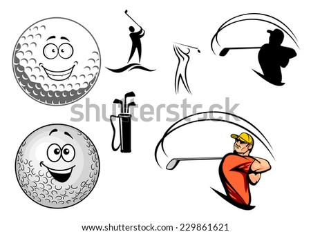 Set of golfing icons with various golfers swinging at the ball, a bag of clubs and two happy smiling golf balls, cartoon vector illustration on white - stock vector
