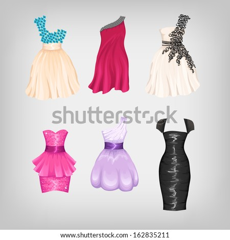 Set of gorgeous cocktail dresses - stock vector