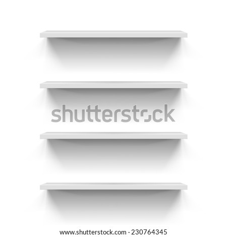 Set of gorizontal white bookshelves for your design - stock vector