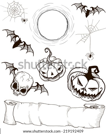 Set of Gothic hand painted Halloween items: scroll, skull, pumpkin, bat, moon, spider and spider web - stock vector