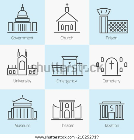 Set of government buildings church prison hospital flat line icons in gray color on squares - stock vector