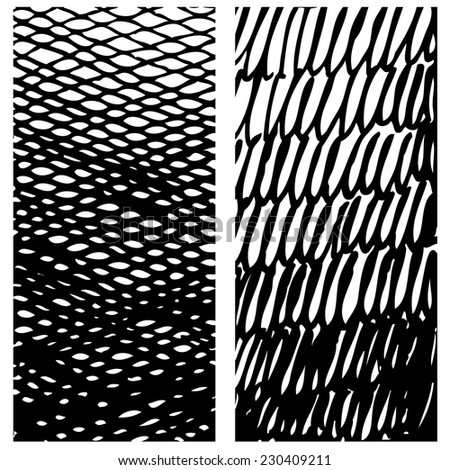 Set of gradient ink textures. Vertical ink strokes and doodles with varying thickness. Ink hand drawn textures. Hatching drawn with pen. Abstract background. Vector design elements - stock vector