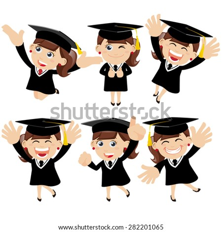 Set of  graduate student characters in different poses - stock vector