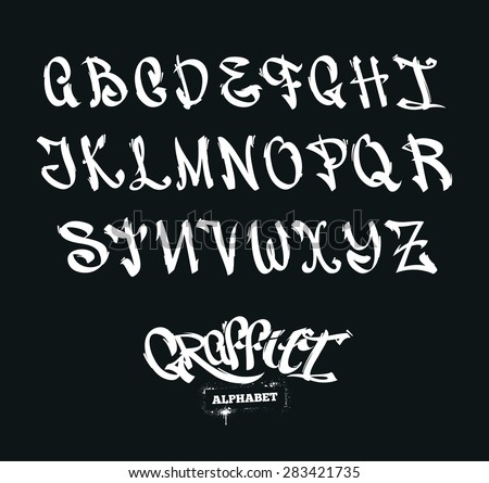 Set of graffiti style letters. Street-art alphabet. Vector symbols. - stock vector