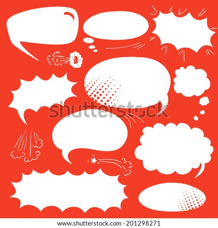 Set of graphic comics speech  bubbles, vector templates clouds for text, white on red background - stock vector