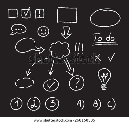 Set of graphic elements, hand drawn with chalk on blackboard. Arrows, flowcharts and other symbols to mix and match in different ways. - stock vector
