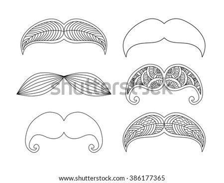 Set of graphic ornamental mustaches. Vector illustration