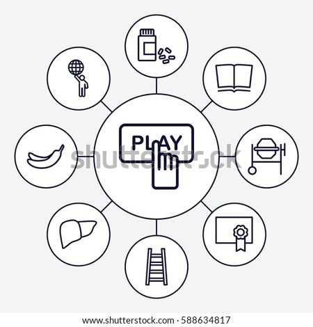 Set 9 graphic outline icons such stock photo photo vector set of 9 graphic outline icons such as finger pressing play button banana concrete ccuart Choice Image