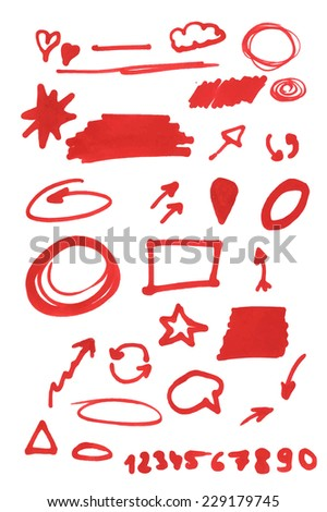 Set of graphic signs. Arrows, circles, correction lines, underlines, highlighting elements. Felt tip marker pen. Vector illustration. - stock vector