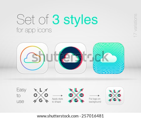 Set of 3 graphic styles for app icons. High quality design elements - stock vector