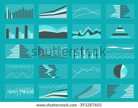 Set of Graphs and Charts. Data and Statistic, Informative Infographics. Vector Illustration. EPS10 - stock vector