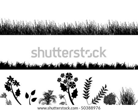 set of grass and flowers vector