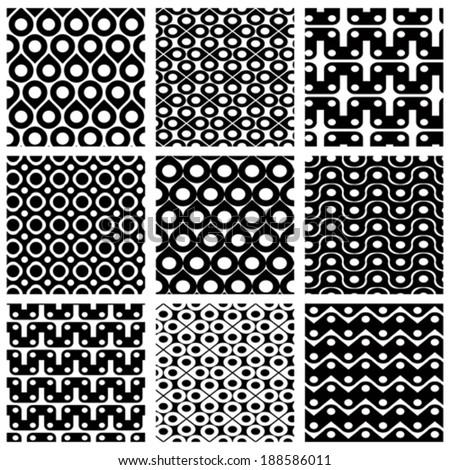 Set of grate seamless patterns with geometric figures, ornamental monochrome wavy tiles, infinite geometric surface textures with squares and ovals, black and white abstract tiling.