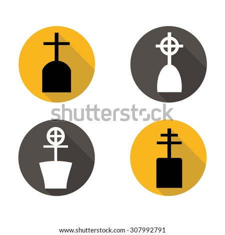 Set of grave flat icons with long shadow on yellow and gray background.