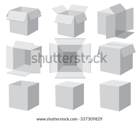 Set of gray boxes, different angles. Vector illustration. - stock vector