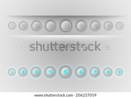 Set of gray buttons as user interface. Blue shining numbers. Vector elements.