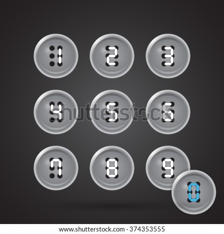 Set of gray buttons on a black background with figures from 0 to 9