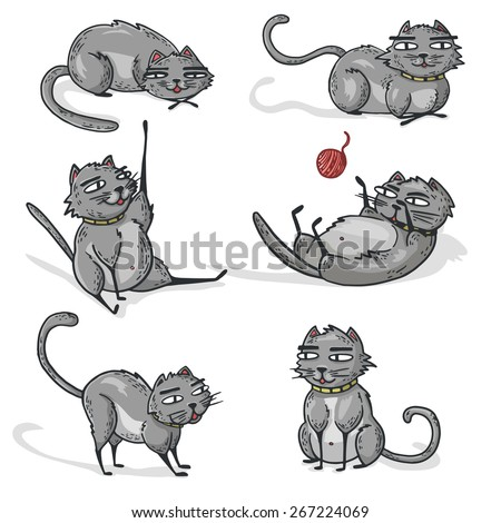 Set of gray cartoon cats. Cats play, sleep, lay. Vector. - stock vector