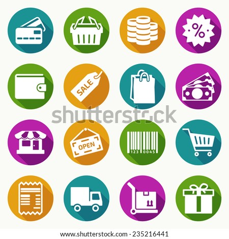 Set of gray shopping icons on white background in flat style. Vector illustration - stock vector