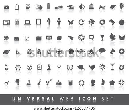 Set of 84 gray universal icon symbol pictograms EPS 8 vector no open shapes or paths. - stock vector