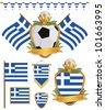 set of greece football supporter flags and emblems, isolated on white - stock vector