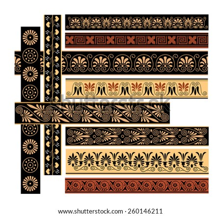 set of Greek ornament in color.complex patterns. vector - stock vector
