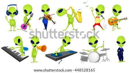 Set of green aliens singing and listening to music. Set of aliens playing saxophone, guitar, synthesizer, violin, drum, mixing music on turntables. Vector illustration isolated on white background. - stock vector