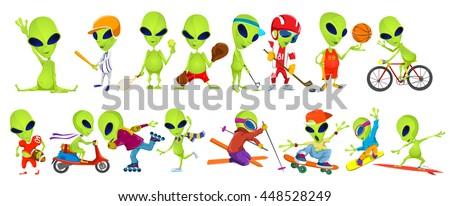 Set of green aliens wearing sport uniform and using sports equipment. Aliens is playing hockey, baseball, basketball, tennis, rugby. Aliens is skiing. Vector illustration isolated on white background.