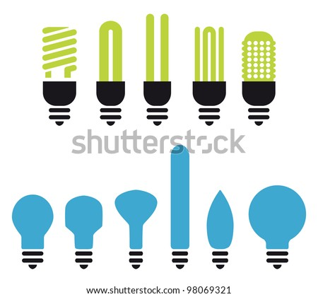 set of green an no saving bulbs silhouettes - stock vector