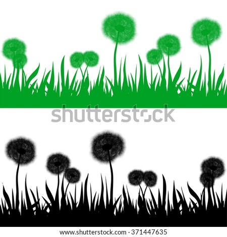 Set of green and black contour spring grass with flowering dandelion on a white background - stock vector