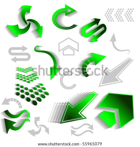 Set of green arrow icons - also as emblem or logo template. Jpeg version also available - stock vector