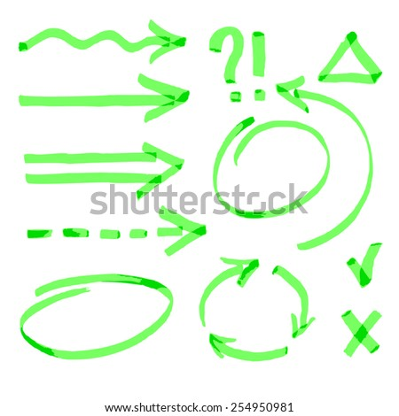 Set of Green Arrows and Signs hand draw with marker. - stock vector