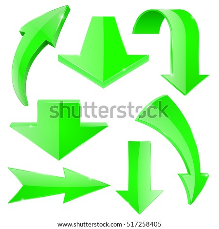 Set of green arrows. Straight and curved arrow. Vector illustration isolated on white background