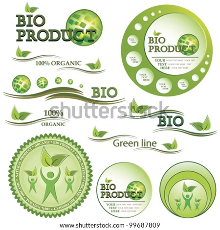 Set of green bio and organic badges and labels. Vector illustration - stock vector