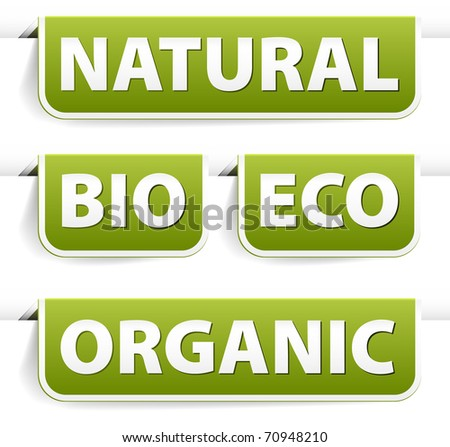 Set of green bookmarks for organic, natural, eco, bio food - stock vector