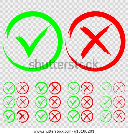Set Green Check Mark Ok Red Stock Vector Royalty Free 615180281