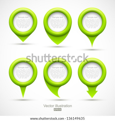 Set of green circle pointers. - stock vector