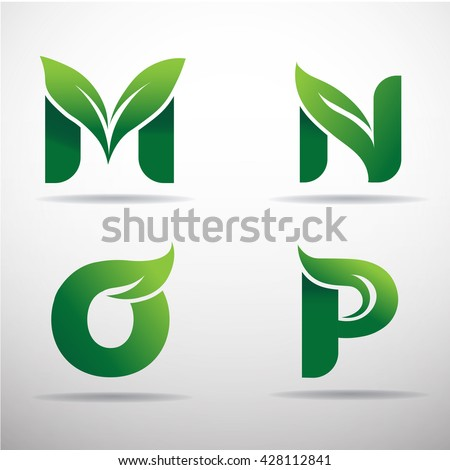 Set of green eco letters logo with leaves: M,N,O,P - stock vector