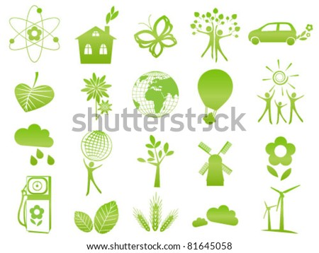 Set of 20 green ecological icons and signs - stock vector